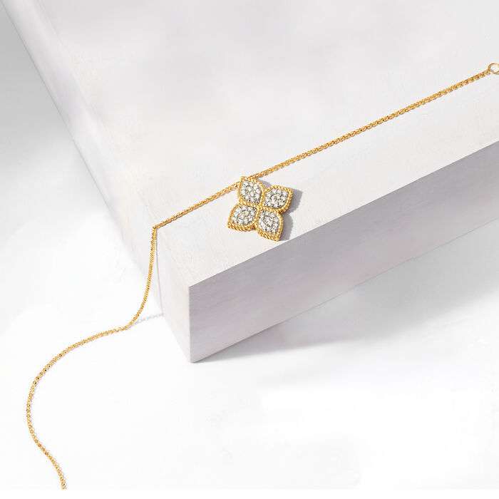 """Roberto Coin """"Princess"""" .45 ct. t.w. Diamond Flower Necklace in 18kt Yellow Gold"""