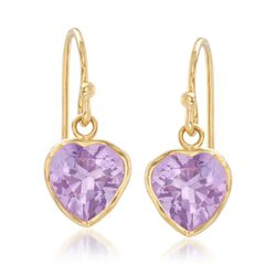 3.20 ct. t.w. Bezel-Set Amethyst Heart Drop Earrings in 18kt Gold Over Sterling , , default