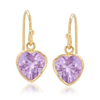 3.20 ct. t.w. Bezel-Set Amethyst Heart Drop Earrings in 18kt Gold Over Sterling , , default