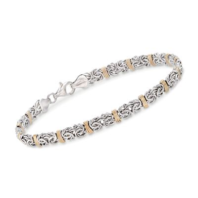 Sterling Silver and 14kt Yellow Gold Byzantine Station Bracelet, , default