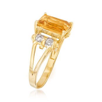 2.80 Carat Citrine Ring with Diamond Accents in 14kt Yellow Gold
