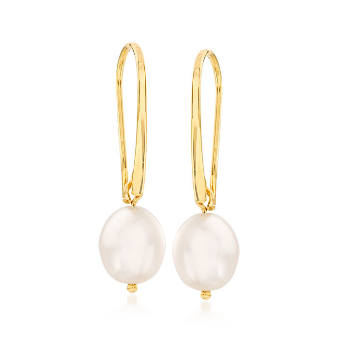 10x8mm Cultured Pearl Drop Earrings in 14kt Yellow Gold, , default
