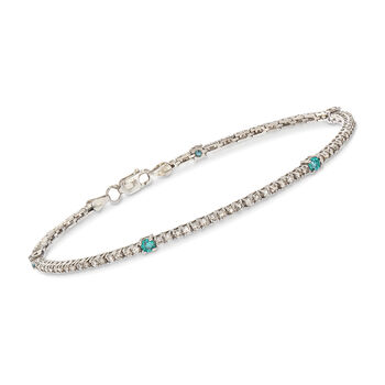 "C. 2000 Vintage 1.68 ct. t.w. Blue and White Diamond Tennis Bracelet in 14kt White Gold. 7.25"", , default"