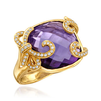 18.30 Carat Amethyst and .25 ct. t.w. Diamond Ring in 14kt Yellow Gold