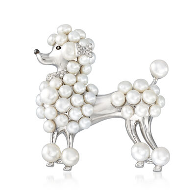 3.5-5.5mm Cultured Pearl and .10 ct. t.w. Diamond Poodle Pin in Sterling Silver, , default
