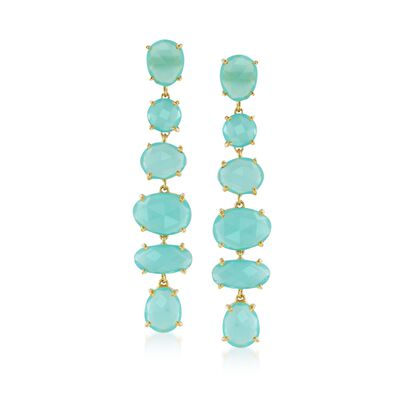 Green Chalcedony Linear Drop Earrings in 18kt Gold Over Sterling