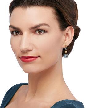 Italian 11.80 ct. t.w. London Blue Topaz Drop Earrings in 14kt Yellow Gold, , default