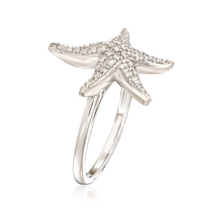 .13 ct. t.w. Diamond Starfish Ring in Sterling Silver