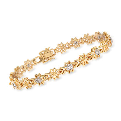 C. 1990 Vintage .29 ct. t.w. Diamond Floral Bracelet in 18kt Yellow Gold, , default