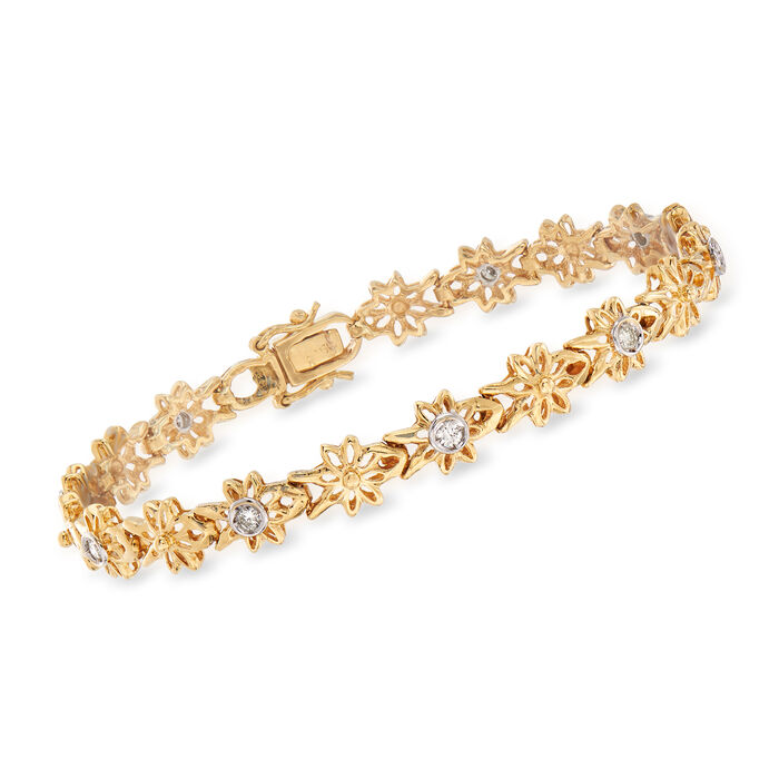 C. 1990 Vintage .29 ct. t.w. Diamond Floral Bracelet in 18kt Yellow Gold. 6.75""