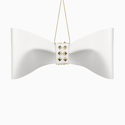 Crystamas White Lambskin Leather Bow Ornament with Yellow Gold Studs, , default