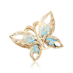 Italian 14kt Yellow Gold Butterfly Ring With Blue and White Enamel. Size 8, , default