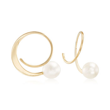 "5.5-6mm Cultured Pearl Spiral Hoop Earrings in 14kt Yellow Gold. 5/8"", , default"