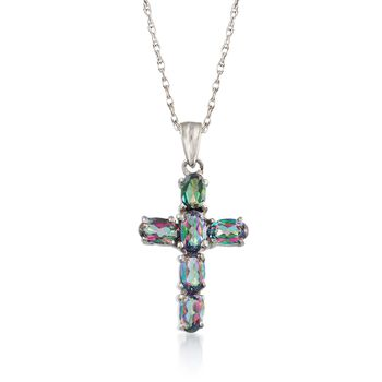 """1.60 ct. t.w. Multicolored Topaz Cross Pendant Necklace in Sterling Silver. 18"""", , default"""