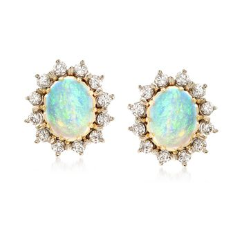 C. 1970 Vintage Opal and 1.35 ct. t.w. Diamond Earrings in 14kt Two-Tone Gold , , default