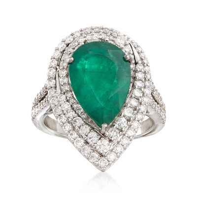 1.30 Carat Pear-Shaped Emerald and 1.30 ct. t.w. Diamond Ring in 18kt White Gold, , default