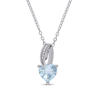 1.50 Carat Aquamarine Heart Pendant Necklace with Diamond Accents in Sterling Silver