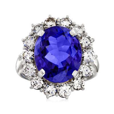C. 1980 Vintage 8.57 Carat Tanzanite and 2.08 ct. t.w. Diamond Ring in Platinum, , default