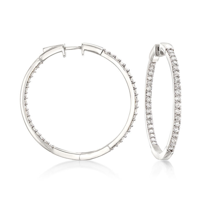 "2.00 ct. t.w. Diamond Inside-Outside Hoop Earrings in Sterling Silver. 1 1/2"", , default"