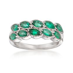1.10 ct. t.w. Marquise Emerald Ring in 14kt White Gold, , default