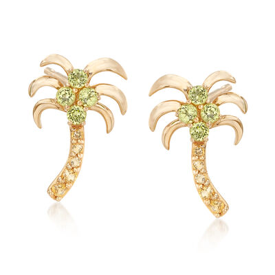 .50 ct. t.w. Peridot and .17 ct. t.w. Citrine Palm Tree Drop Earrings in 14kt Yellow Gold, , default