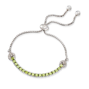 1.70 ct. t.w. Peridot Bolo Bracelet with White Zircon Accents in Sterling Silver
