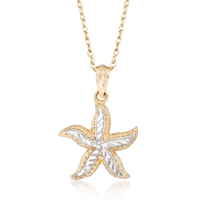 14kt Two-Tone Gold Starfish Pendant Necklace