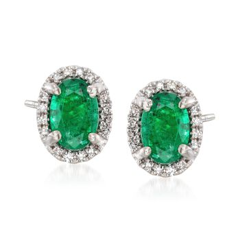 .80 ct. t.w. Emerald Stud Earrings With Diamond Accents in 14kt White Gold, , default