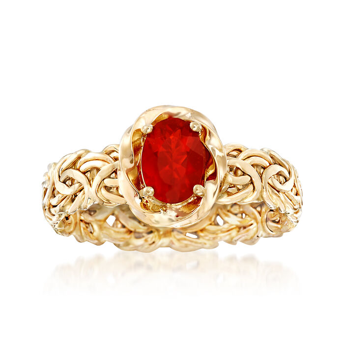 Fire Opal Byzantine Ring in 14kt Yellow Gold