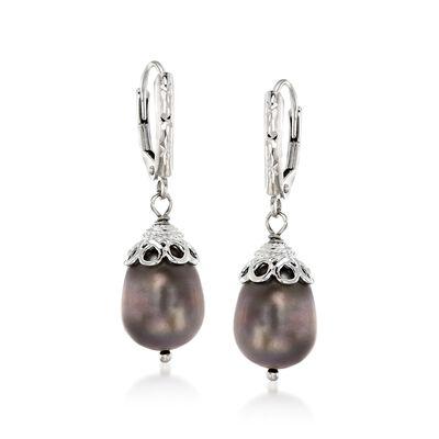 10-11mm Black Cultured Pearl Drop Earrings in Sterling Silver, , default