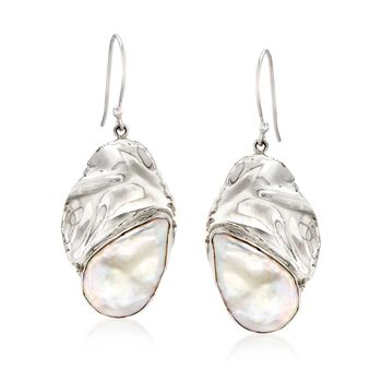 20-22x14-16mm Cultured Baroque Pearl and Sterling Silver Oval Drop Earrings, , default