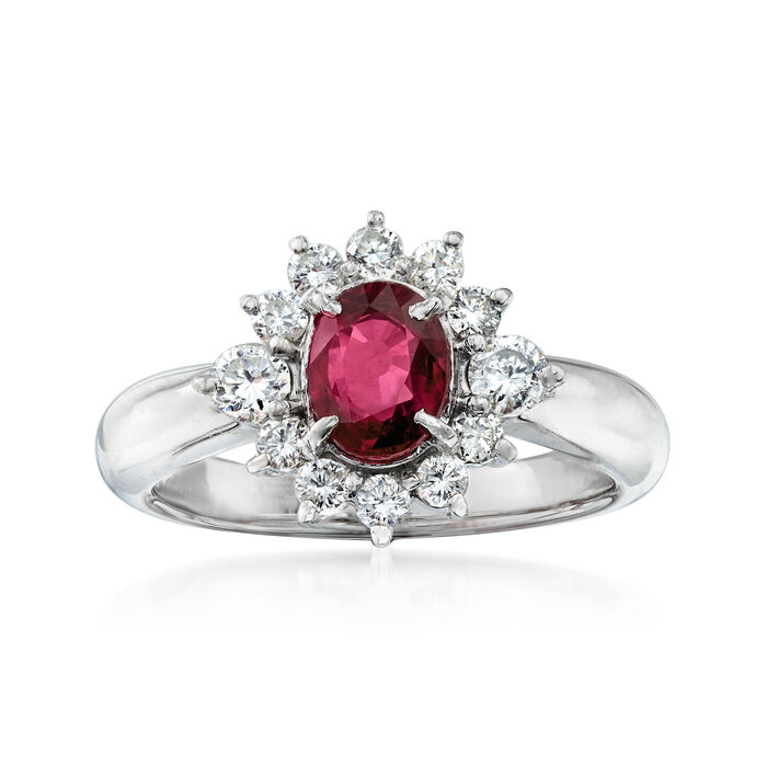 C. 1990 Vintage 1.07 Carat Ruby and .53 ct. t.w. Diamond Ring in Platinum. Size 6