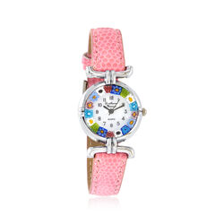 Italian Woman's Floral Multicolored Murano Glass 26mm Stainless Watch With Pink Leather, , default