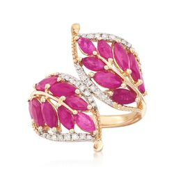 3.20 ct. t.w. Ruby and .17 ct. t.w. Diamond Leaf Bypass Ring in 14kt Yellow Gold, , default