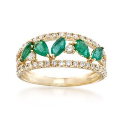 .80 ct. t.w. Emerald and .58 ct. t.w. Diamond Ring in 14kt Yellow Gold, , default