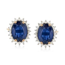 2.80 ct. t.w. Sapphire and .24 ct. t.w. Diamond Stud Earrings in 14kt Yellow Gold, , default