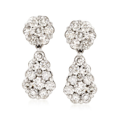 3.00 ct. t.w. Diamond Pear-Shape Drop Earrings in 18kt White Gold, , default