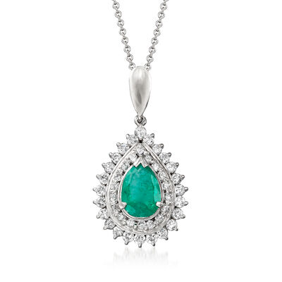 C. 1990 Vintage 1.05 Carat Emerald and .72 ct. t.w. Diamond Pendant Necklace in Platinum and 18kt White Gold