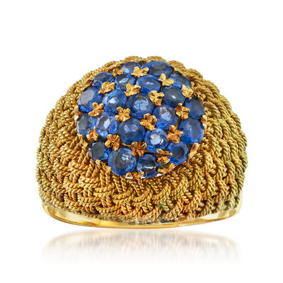 C. 1970 Vintage 1.50 ct. t.w. Sapphire Woven Dome Ring in 18kt Yellow Gold, , default