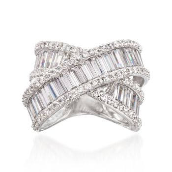 5.60 Baguette and Round CZ Crisscross Ring in Sterling Silver, , default