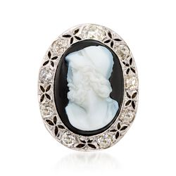 C. 1960 Vintage Agate Roman Warrior Cameo With 1.90 ct. t.w. Diamonds in Platinum and 14kt Yellow Gold. Size 8.5, , default