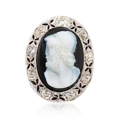 C. 1960 Vintage Agate Roman Warrior Cameo with 1.90 ct. t.w. Diamonds in Platinum and 14kt Yellow Gold, , default