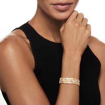 Italian Tri-Colored Sterling Silver Reversible Braid Bracelet, , default