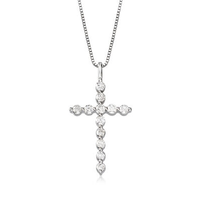 1.00 ct. t.w. Diamond Cross Pendant in 14kt White Gold