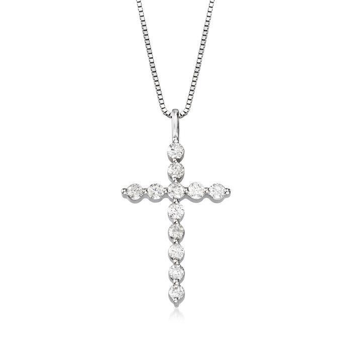 1.00 ct. t.w. Diamond Cross Pendant in 14kt White Gold, , default