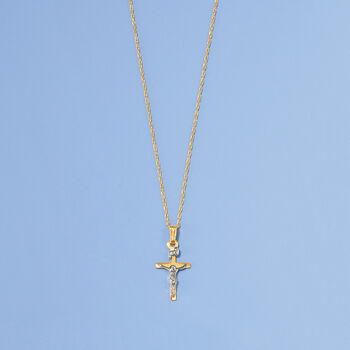"Child's Two-Tone Crucifix Pendant Necklace in 14kt Yellow Gold. 15"", , default"