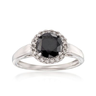 2.00 Carat Black Diamond Ring with .13 ct. t.w. White Diamonds in 14kt White Gold, , default