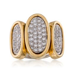 C.1990 Vintage 1.80 ct. t.w. Pave Diamond Ring in 14kt Two-Tone Gold. Size 7.5, , default