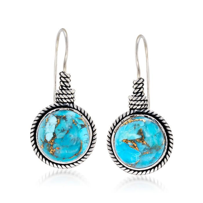 12mm Turquoise Roped Drop Earrings in Sterling Silver , , default