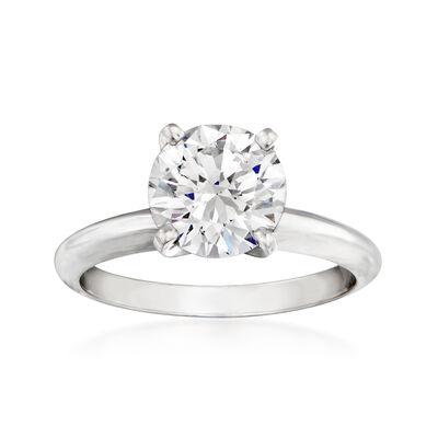 1.93 Carat Certified Solitaire Diamond Engagement Ring in Platinum